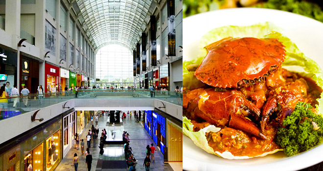 Marina Bay Sands Integrated Resort - Shoppes and Singapore's popular dish - the Chilli Crab